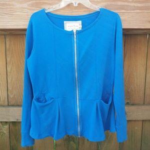 Evy's Tree Blue Peplum Zip Sweatshirt Knit Top XL